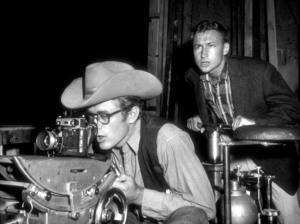 """James Dean behind the sceneduring the filming of """"Giant.""""1955.Photo by Floyd McCarty - Image 0024_0436"""
