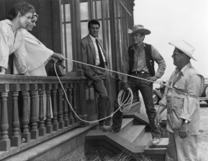 """James Dean, director George Stevens, Rock Hudson, Elizabeth Taylor and Mercedes McCambridge on location in Marfa, Texas for """"Giant"""" 1955 WarnerPhoto by Floyd McCarty - Image 0024_0446"""