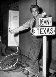 """James Dean behind the scenes while on location for """"Giant.""""1955 Warner / MPTVPhoto by Floyd McCarty - Image 0024_0456"""