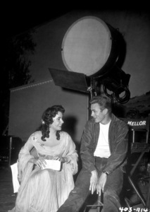 """James Dean and Elizabeth Taylor behindthe scenes of """"Giant""""1955 WarnerPhoto by Floyd McCarty - Image 0024_0457"""