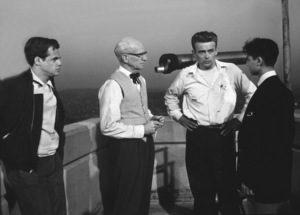 "James Dean and Sal Mineo discusses ascene or the roof of the Planetarium for""Rebel Without A Cause.""1955 Warner / MPTV - Image 0024_0482"