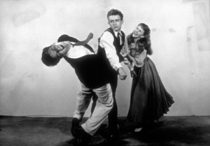 """James Dean, Julie Harris, and Richard Davalos in publicity still for """"East of Eden."""" 1955 Warner / MPTV Photo by Floyd McCarty - Image 0024_2052"""