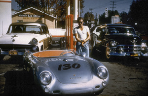 James Dean, one of his last stops before his fateful crash, with his Porsche 550 Spider, at a gas station in Sherman Oaks, CaliforniaSeptember 30, 1955** D.L. - Image 0024_2097