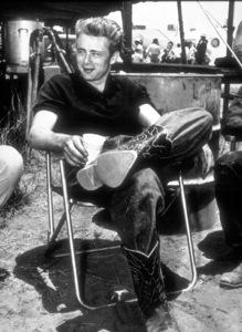 """James Dean on the set of """"Giant.""""1955 Warner / MPTV - Image 0024_2117"""