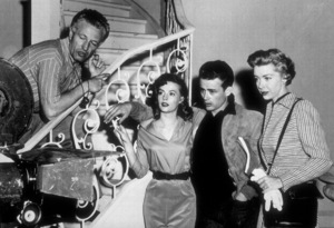 """James Dean with Director Nick Ray, Natalie Wood and Marsha Hunt on the set of """"Rebel Without A Cause"""" 1955 Warner - Image 0024_2133"""