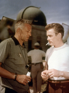 "James Dean with director Nick Rayon the set of ""Rebel Without A Cause.""1955 Warner / MPTV - Image 0024_2149"