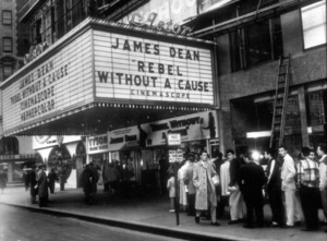"""James Dean  theater marqueedisplaying """"Rebel Without A Cause.""""1955 Warner / MPTV - Image 0024_2150"""