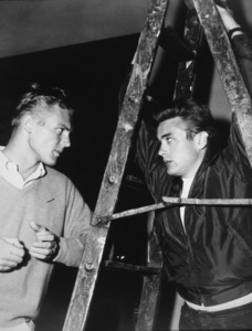 """James Dean on the set of""""Rebel Without A Cause,""""with Tab Hunter.  1955. - Image 0024_2154"""