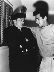 """James Dean on the set of""""Rebel Without A Cause""""with Perry Lopez.  1955. - Image 0024_2155"""