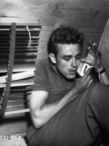 """James Dean in his trailer on theset of """"Rebel Without A Cause.""""1955 Warner / MPTV - Image 0024_2156"""