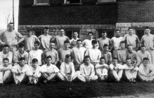 James Dean at age 14 (far left, bottom)in group shot outside Fairmoutn High School.1945. - Image 0024_2161