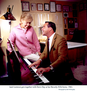 Jack Lemmon with Doris Day at herBeverly Hills home, 1961. © 1978 Bob Willoughby - Image 0025_2296