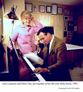 Jack Lemmon with Doris Day at herBeverly Hills home, 1961. © 1978 Bob Willoughby - Image 0025_2297