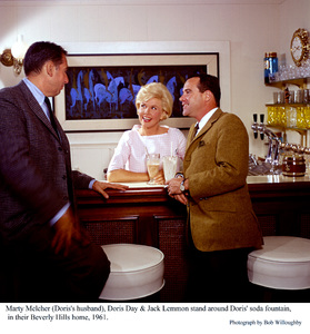 Jack Lemmon with Doris Day and herhusband Marty Melcher, at the home ofDoris Day in Beverly Hills, 1961. © 1978 Bob Willoughby - Image 0025_2298