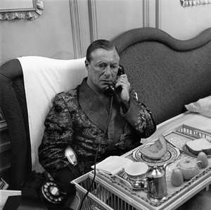 """George Jessel regularly breakfasts at his Santa Monica, California home but he has never eaten lunch or dinner there.  Photograph made for a 1953 Saturday Evening Post article, """"The Funniest Man at the Table"""" © 1978 Sid Avery - Image 0027_0003"""