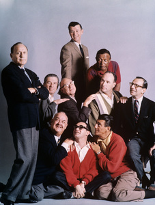 "Jack Benny and the cast of ""The Jack Benny Program"" (Dennis Day, Eddie"