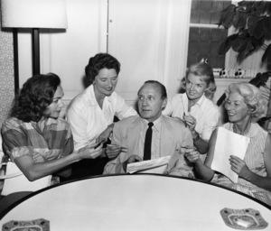 Jack Benny with Mrs. Ray Milland (Muriel Frances Weber), Mrs. Bob Hope (Dolores), Mrs. David Niven (Hjrdis Genberg) and Mrs. Dean Martin (Jeanne Martin)circa 1960sPhoto by Gabi Rona - Image 0028_0890