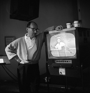 Sammy Cahn behind the scenes of an ABC Television Special watching Bing Crosby on the monitor 1959 © 1978 Sid Avery - Image 0031_0029
