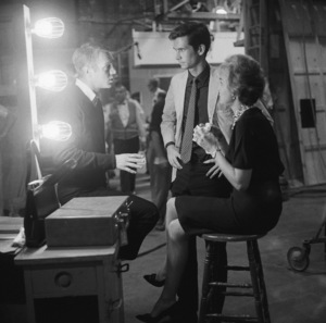 """Anthony Perkins with Steve McQueen and Janet Leigh behind the scenes of """"Alfred Hitchcock Presents""""1959© 1978 Sid Avery - Image 0032_0003"""