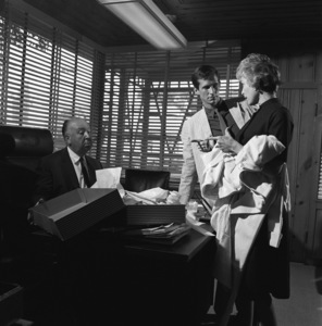 """Anthony Perkins with Janet Leigh and director Alfred Hitchcock at Universal Studios during pre-production for """"Psycho""""1959© 1978 Sid Avery - Image 0032_0004"""