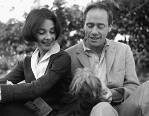 Audrey Hepburn and Mel Ferrer with their pet dog, Famous, outside their home in Los Angeles, CA1957 © 1978 Sid Avery - Image 0033_0006