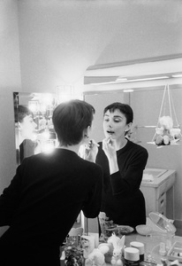 "Audrey Hepburn is her dressing room during the filming of ""Sabrina""1953© 2000 Mark Shaw - Image 0033_0092"