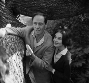 Audrey Hepburn and Mel Ferrer in the backyard of their Los Angeles, CA home1957 © 1978 Sid Avery - Image 0033_0101