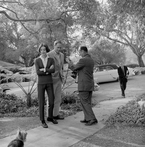 Audrey Hepburn, Mel Ferrer and their dog Famous with photographer Sid Avery at their Los Angeles home1957 © 1978 Bruce McBroom - Image 0033_1060