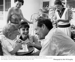 Audrey Hepburn,  with son Sean and husband Mel. Jean Quigley and Dorothy Willoughby in background, 1961. / © 1978 Bob Willoughby - Image 0033_1133