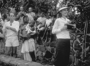 "Audrey Hepburn on location during ""The Nun"