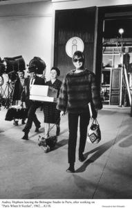 """Paris When It Sizzles"" Audrey Hepburn with pet Famous1962 Paramount © 1978 Bob Willoughby - Image 0033_2329"