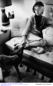 """""""Green Mansions""""Audrey Hepburn with Pippin in her dressing room1958 / MGM(c) 1978 Bob Willoughby - Image 0033_2351"""