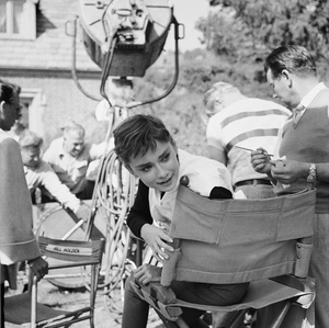 "Audrey Hepburn on the set of ""Sabrina""1953© 2000 Mark Shaw - Image 0033_2376"