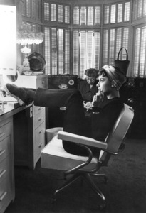 """Audrey Hepburn in dressing room during the filming of """"Sabrina"""" 1953© 2000 Mark Shaw - Image 0033_2409"""