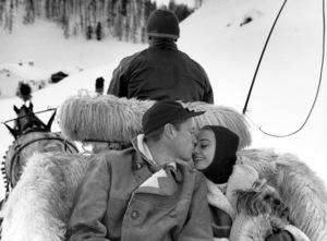 Audrey Hepburn and Mel FerrerOn a horse drawn carriage c. 1950