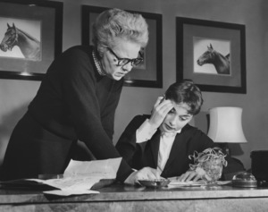"""Audrey Hepburn w/ her agent Edith Van Cleve backstage of""""GIGI"""" on Broadway1951/**I.V. - Image 0033_2480"""