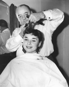 "Audrey Hepburn getting a haircut during her Broadway run of ""GIGI""1951** I.V. - Image 0033_2491"