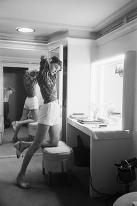 "Audrey Hepburn in her dressing room during the making of ""Sabrina""1953© 2007 Mark Shaw - Image 0033_2525"