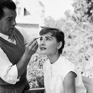 "Audrey Hepburn and make-up man, Wally Westmore, on the set of ""Sabrina""1953© 2000 Mark Shaw - Image 0033_2568"