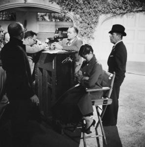 "Director Billy Wilder, Audrey Hepburn and Humphrey Bogart on the set of ""Sabrina""1953© 2000 Mark Shaw - Image 0033_2571"