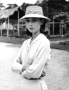"Audrey Hepburn during the filming of ""The Nun"