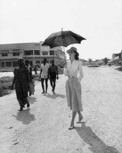"Audrey Hepburn in the Belgian Congo during the making of ""The Nun"