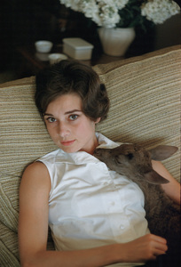 """Audrey Hepburn at home with pet Pippin while filming """" Green Mansions,"""" 1958. © 1978 Bob Willoughby - Image 0033_4005"""