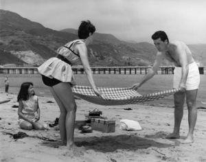 James Garner with his wife, Lois Clarke, and their daughter Kimberly in Malibu1957Photo by Jack Woods** J.S.C. - Image 0037_0780
