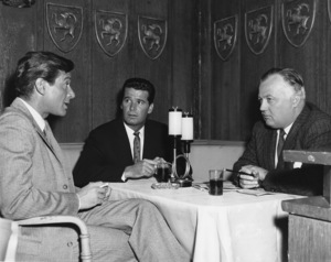 """Efrem Zimbalist Jr., James Garner and James Bacon chat while waiting for a scene to be set up for """"77 Sunset Strip""""1959Photo by Joe Shere - Image 0037_0820"""