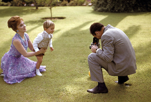 Gina Lollobrigida with husband Milko Skofic and two year-old son Milko at the Beverly Hills Hotel in Beverly Hills, California1960 © 1978 Sid Avery - Image 0041_0472