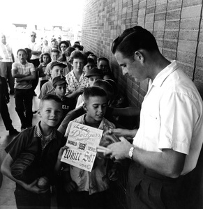 Don Drysdale signing autographs for his devoted young fans1961 © 1978 Sid Avery - Image 0058_0307