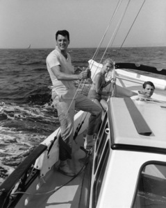 "Rock Hudson on his sailboat ""Khairusam"" with Gia Scala and Don Barnett1959© 1978 Gene Trindl - Image 0067_1041"