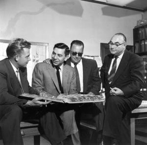 Sgt. Vance Brasher, Jack Webb, Marty Wynn, Captain Jack Donohoe, 1953. © 1978 Sid Avery 0068-1005 - Image 0068_1005