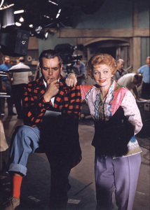 Lucille Ball with Desi Arnaz on the Desilu set, c. 1957.**I.V. - Image 0069_2109
